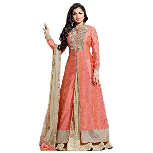 Aryan Fashion Women Taffeta silk Anarkali Semi-Stitched Salwar Suit (AFS-AAB10763_Peach_Free Size)