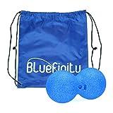 Bluefinity Massagerolle Duoball, Selbstmassagerolle 12 cm Durchmesser, für Bindegewebsmassage, Faszienrolle zur Selbstmassage, Massageball zur punktuellen Behandlung von Triggerpunkten, blau