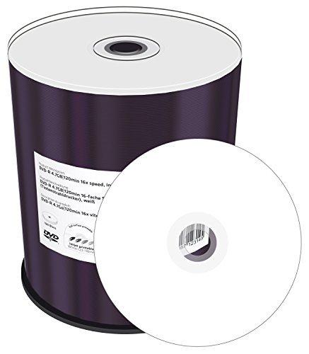 Mediarange mr413-u confezione di 100 dvd-r stampabile, 16x, 4.7 gb/120 min inkjet wide printable