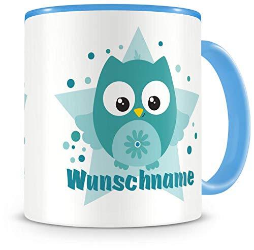 Samunshi® Kinder-Tasse mit Namen und Türkise Baby Eule als Motiv Bild Kaffeetasse Teetasse Becher Kakaotasse Nr.3: blau H:95mm / D:82mm (Kaffee Eule Blaue Tasse)
