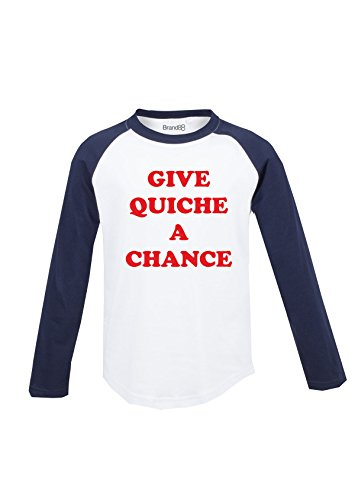 Give Quiche A Chance Kinder Langarm Baseball T-Shirt - Weiss & Blau 7-8 Jahre (Fitted Chance T-shirt)