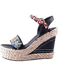 Yuncai Donna Moda Piattaforma Zeppa Sandali Scamosciato Traspirante Confortevole Scarpe Estive da Spiaggia Rosso 38