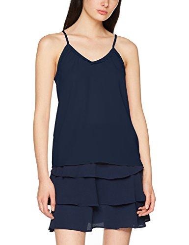 VERO MODA Damen Top Vmsasha Lace Singlet Noos, Blau (Navy Blazer Navy Blazer), 40 (Herstellergröße: L)