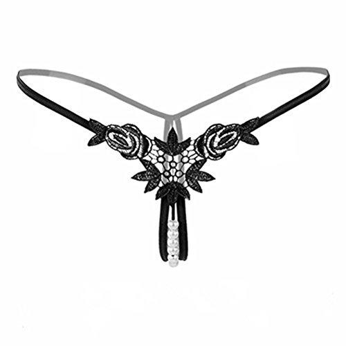 Perlen Unterwäsche String ouvert Frauen Damen Tanga Slip sexy Stickerei Blumen Unterhose Damenwäsche Dessous (Schwarz)