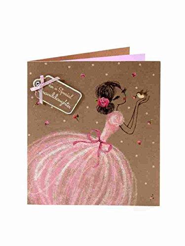 Grußkarte (ukg1132)-Geburtstag-Special Granddaughter-Mädchen in Rosa Kleid mit Vogel-Belle und Beau Range-Relief Befestigung, Schleife und Juwel Finish -