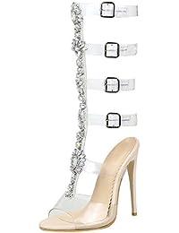 e203f3bea4dc JYshoes Stiletto High Heels Römersandalen Frauen Hoch Sommer Transparent  Sandaletten mit Strass and Schnalle Fashion Schuhe