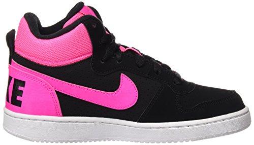 Nike  Court Borough Mid (GS),  Damen sportschuhe - basketball Black (Schwarz / Pink Explosion)