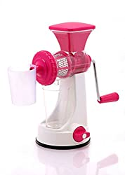 Premium Fruit & Vegetable Plastic Manual Juicer with Steel Handle and Waste Collector Polypropylene Hand Juicer/Natural Fruit juicer by Next On (Pink)