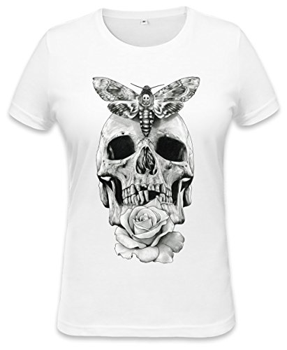 Butterfly-lady-print-tee (Butterflies Skull Black White Illustration Womens T-shirt Large)