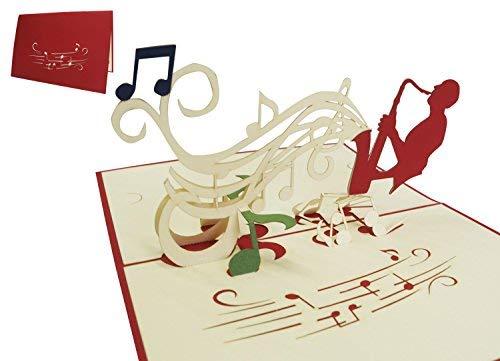 Lin de Pop up Cartes cartes d'anniversaire cartes cadeaux Musique Concert, Saxophone