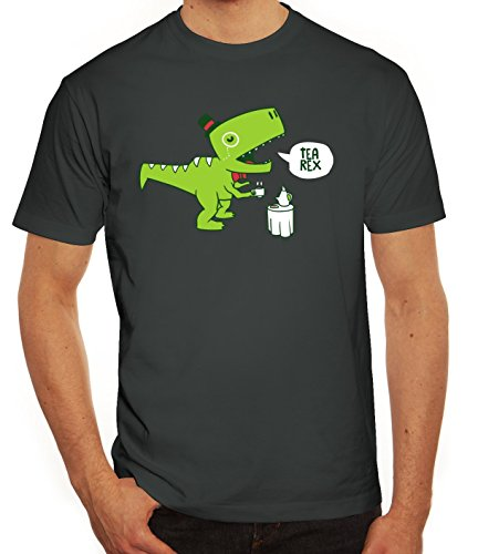 Lustiges Herren T-Shirt mit TeaRex Motiv von ShirtStreet Darkgrey