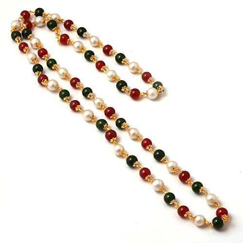 Jewar Mandi 26 Inch Fine Gold Plated Multi-Pearl Chain Necklace For Women