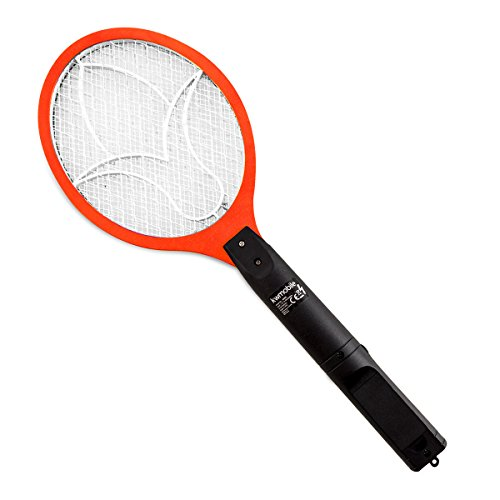 kwmobile Elektrische Fliegenklatsche Mückenklatsche Insektenschläger - Insektenvernichter Rot für Mücken Fliegen - Fliegenklatsche elektrisch