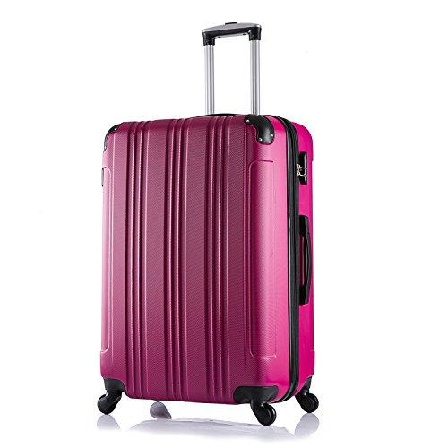 WOLTU RK4207pk Reise Koffer Trolley Hartschale mit erweiterbare Volumen , Reisekoffer Hartschalenkoffer 4 Rollen , M / L / XL / Set , leicht und günstig , Pink (XL, 76 cm & 110 Liter)