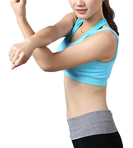 GoodNight Doppio strato Seamless Racerback Reggiseno Yoga Sport Blu