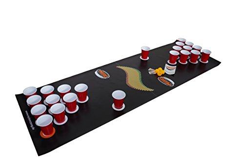 "Beer Pong Set ""Black"" inklusive Spielfeld, 25 Red Solo Cups, 4 Beerpong Bälle & mehr, die Alternative zum Beer Pong Tisch"