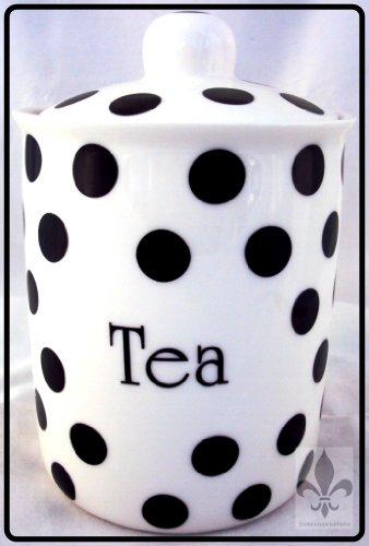 Noir Pois Boîte à thé en porcelaine Fine-Noir-Rangement pour thé en pot décoré à la main en forme de U. K.-gratuite