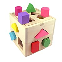 Building Blocks, Intelligence Box for Shape Sorter, Cognitive and Matching Wooden Building Blocks Eductional Toys for Kids Children Sorting Toys Wooden Blocks for Kids