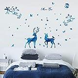 QTXINGMU Blaue Licht Rotwild Wall Sticker Nordic Modernes Wohnzimmer Veranda Schlafzimmer Tv Hintergrund Dekoration