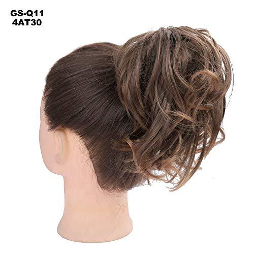 Hjhyg extension chignon capelli finti messy hair bun elastico posticci ricci biondi updo ponytail extensions coda di cavallo 50g, biondo cenere mix biondo chiarissimo