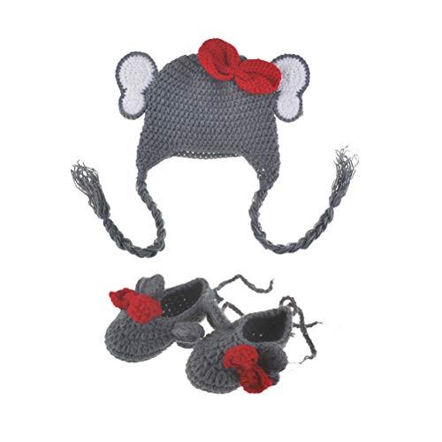 YeahiBaby Baby-Kostüm für Neugeborene, Elefant, gestrickt, Tiermütze und Schuhe, für Fotografie, Requisiten (Neugeborenen Baby Elefanten Kostüm)