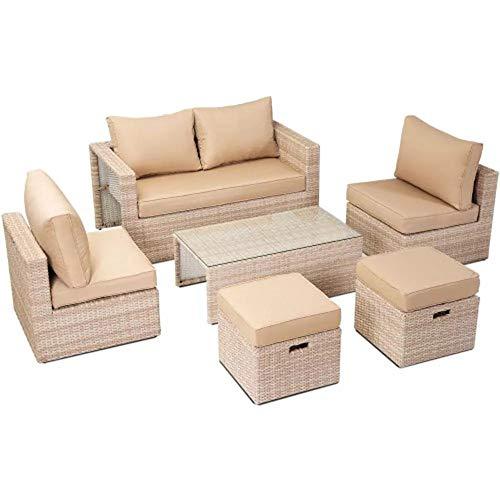 MUCHENG ZI Sofa Weiche 6pcs Outdoor Patio Rattan Leder Sofa Set Tisch Stuhl Kissen for Indoor-Wohnzimmer