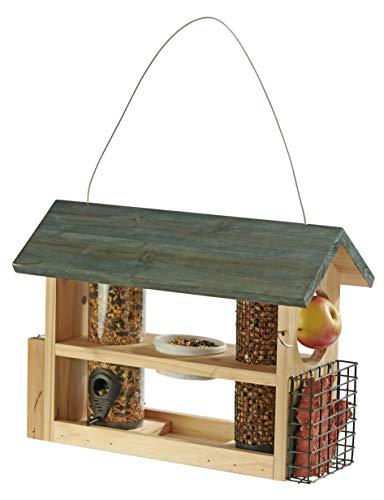 Happy Beaks Garden Fütterungsstation für Vögel, Hängende Hölzerne Samen und Nusszufuhr, mit Fruchtnadel und Wasserschale - Vögel Samen Für Die