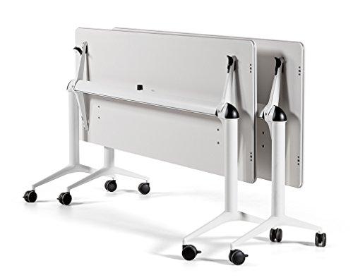 Mesa plegable con ruedas de 160x67x74h blanca trama30 profesional