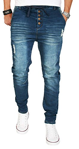 Stylische Herren Jogg Jeans Hose Jogging Sweathose Chino Slim Fit B78 Blau