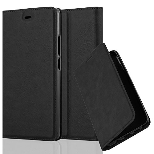 Cadorabo Hülle für ZTE Nubia Z9 MAX - Hülle in Nacht SCHWARZ – Handyhülle mit Magnetverschluss, Standfunktion und Kartenfach - Case Cover Schutzhülle Etui Tasche Book Klapp Style