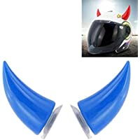 R D Devil's Helmet Horn with Suction Rubber Pad for All Bikes and Motorcycles (Pack of 2) (Blue)