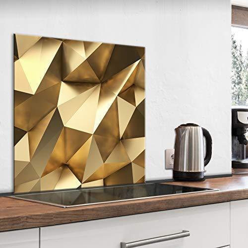 murando Spritzschutz Glas für Küche 60x60 cm Küchenrückwand Küchenspritzschutz Fliesenschutz Glasbild Dekoglas Küchenspiegel Glasrückwand 3D Effekt Abstrakt Gold - f-B-0277-aq-a