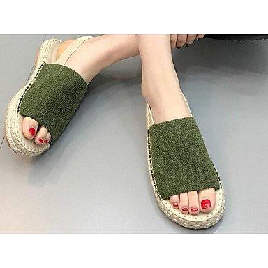 pwne Donna Sneakers Comfort Tessuto Casual Molla Kaki Verde Piatto Nero US7.5 / EU38 / UK5.5 / CN38