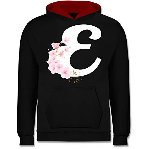 Shirtracer Anfangsbuchstaben Kind - Buchstabe E mit Kirschblüten - 7-8 Jahre (128) - Schwarz/Rot - JH003K - Kinder Kontrast Hoodie - Sakura Womens Jersey