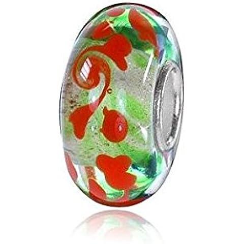 MATERIA in vetro di Murano Beads in argento 925 rosso perla DREAM verde per European perline braccialetto/collana #913