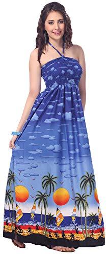 LA LEELA soft likre 3 in 1 trägerlos neck Parteikleid Rock maxi sundress Frauen und hawaiianische -Badeanzug bandeaux Strand Größe decken Lounge lange Schlauchkleid königsblau nach oben