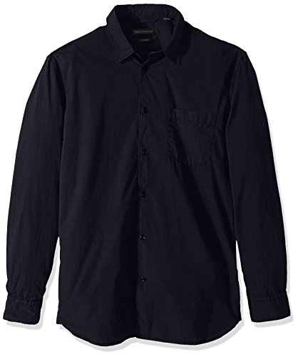 French Connection Herren Overdyed Poplin Long Sleeve Shirt Button Down Hemd, Work Wear Blue, Mittel -