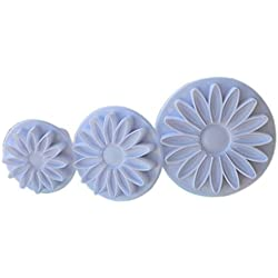 BLXI - Molde para tartas, diseño de margaritas, color blanco