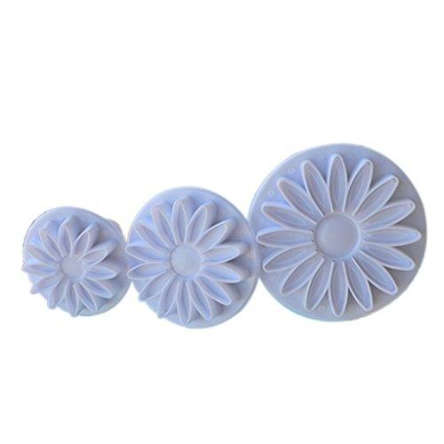 pdhu 3Sunflower Daisy Gerbera Kuchen Fondant Plunger Cutter (weiß) (Gerbera Daisy Cutter)