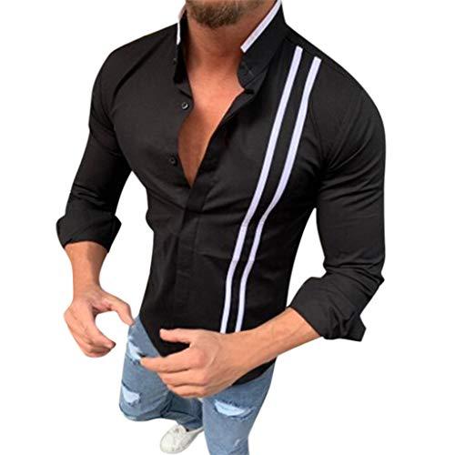 Crazboy Herren Mode Bambus Baumwoll Hemd Langarm Revers gestreift lässig Top Bluse(XXX-Large,Schwarz) -