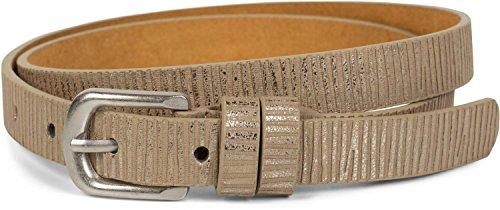 styleBREAKER schmaler unifarbener Gürtel mit Metallic Streifen, Vintage, kürzbar, Damen 03010089, Größe:85cm, Farbe:Antik-Gold