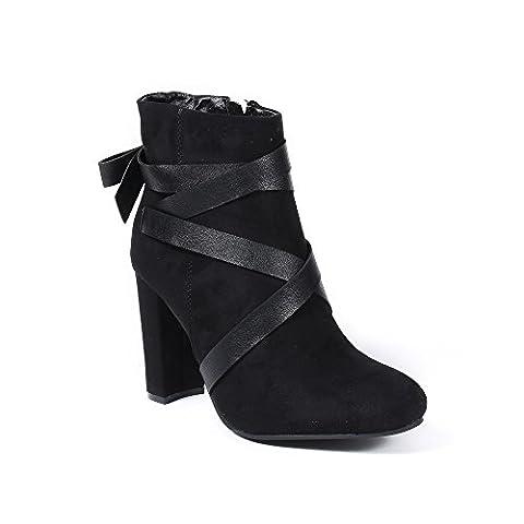 Ideal Shoes - Bottines à talon carré effet daim Veronie Noir 38
