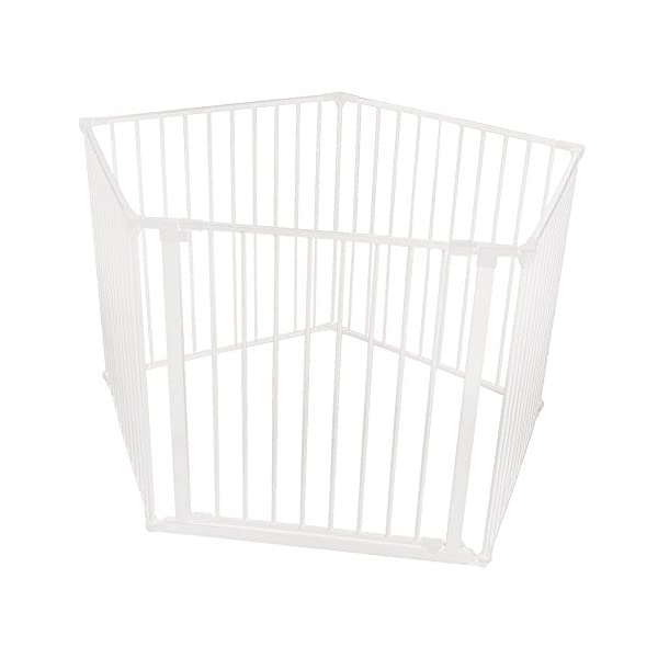 Safetots Baby Pentagon Play Pen with Mat (White) Safetots The perfect solution for keeping baby in a safe area whilst they rest and play Includes 1x 72cm Gate Opening Panel and 4x 72cm Panels Extra wide door section for easy access 3