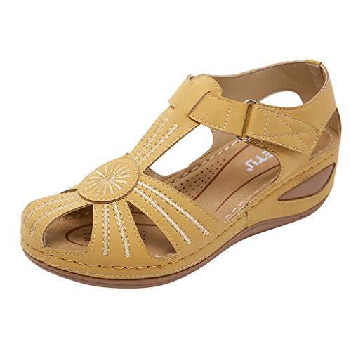 Loafer Weichen Sohlen Leder Schuhe (Damen Blume Hollow Leder Sandalen Keile unterstützt weiche Sohle Loafers Casual Driving Shoes mit verstellbarem Klettverschluss für Mutter BaojunHT®, Gelb - gelb - Größe: 41 EU)