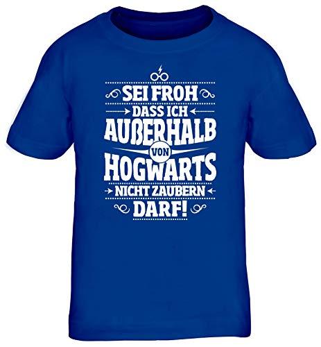 ShirtStreet Fanartikel Fan Kult Film Kinder T-Shirt Rundhals Mädchen Jungen Außerhalb von Hogwarts, Größe: 152/164,royal blau