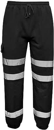LJ Mens Hi Vis Viz Jogging Bottoms Combat Trousers Safety Sweat Pants Super Soft Fleece Workwear Joggers