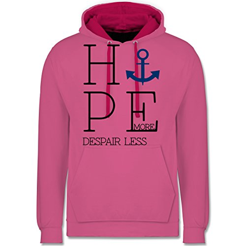 Statement Shirts - Hope more despair less - Kontrast Hoodie Rosa/Fuchsia