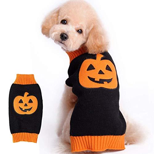 over, Halloween, Kürbis-Strick-Kostüm für kleine mittelgroße Hunde und Katzen ()