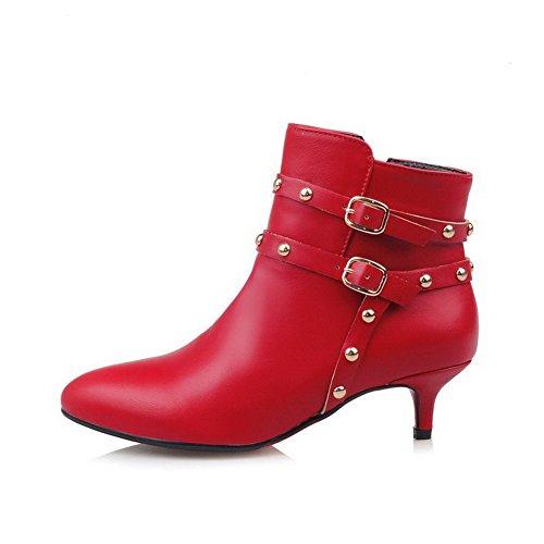 AgooLar Damen Spitz Zehe Hoher Absatz Weiches Material Rein Stiefel, Rot, 36