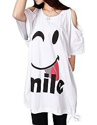 Bepei T-shirt sexy longue Manches courtes chauve-souris Epaules Nues Grande Taille Blanc